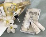we tied the knot elegant chrome braided heart bottle stopper with tassels and pearlized tag