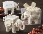 lucky elephant antique ivory finish tea light holder