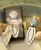 chrome seashell bookmark favors